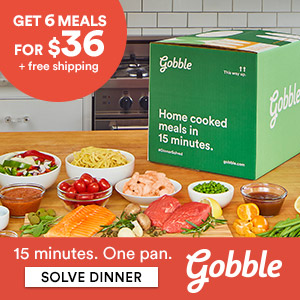 Image of Gobble box on counter with bowls of food in front of it.