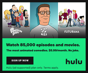 Hulu advertisement for $5.99 per month with commercials