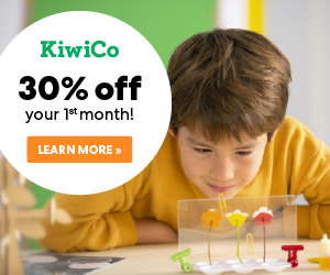 boy working on science project, 30 percent off first box of Kiwi Crate