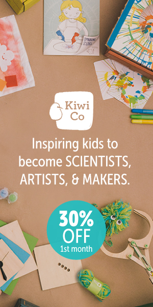 craft supplies on table with offer for 30 percent off first month of Kiwi Crate kit for kids
